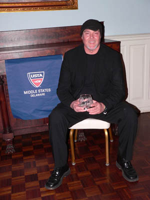 Marty Godwin accepts the 2008 USTA DE DIV Pro of the Year Award on February 8, 2009 at the Bellevue Mansion, in Wilmington, DE.